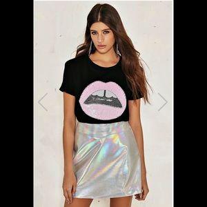Nasty Gal Holographic Silver Metallic Skirt